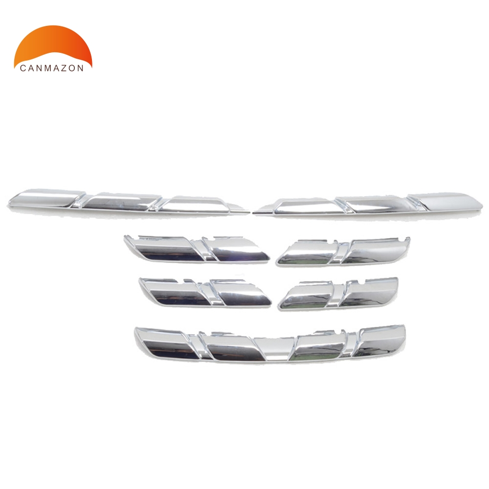 For Renault Kadjar 2016 2017 2018 abs chrome Front Racing Grill Trim Grills Assembly Protection Molding Accessories 8pcs