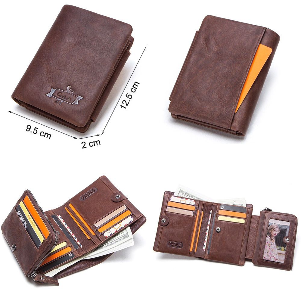 CONTACT'S Genuine Crazy Horse Leather Men Wallets Vintage Trifold Wallet Zip Coin Pocket Purse Cowhide Leather Wallet For Mens 5