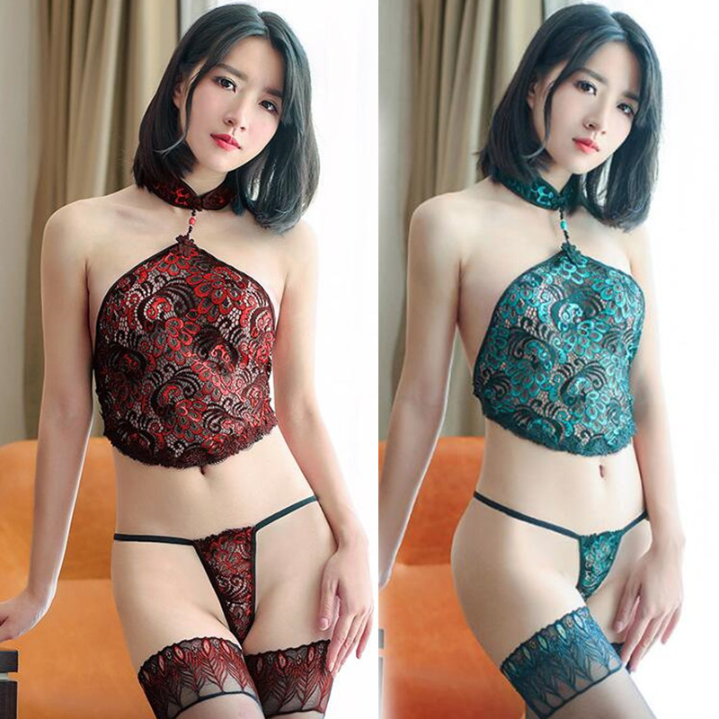 Women Sexy Lingerie Hot Lace Peacock Embroidery Babydoll With Thong Cosplay Erotic Costumes Porn Sex Underwear Nightwear