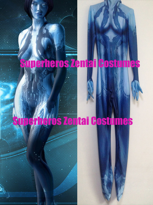Halo Cortana Costume Game Girl Cortana Cosplay Suit 3D Print Zentai Halloween Cosplay Costumes Lycra Zentai