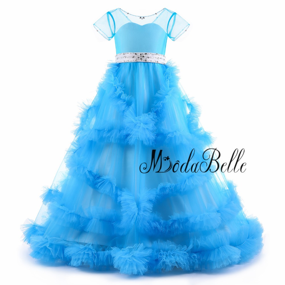modabelle Blue Flower Girls Dresses Cloud Toddler Prom Ball Gown Birthday Girls  Glitz Vestido Infantil Kids Party Dresses 2018-in Flower Girl Dresses from  ... c0831cdc56fe