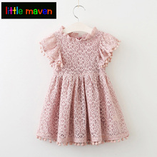 Girls Dress 2018 New Summer Children Girls Clothes Lace And Flysleeves with Tassels Baby Girls Dress Party Dress For 2-7 Years