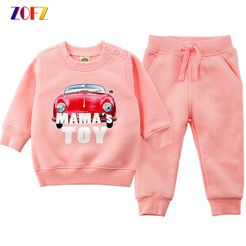 ZOFZ Boys Clothes Spring Autumn Children Suit 2PCS Long Sleeve O-Neck Pullovers Sweatshirt and Pants Kids Cartoon Clothes 1-6T vogue letter and animal print round neck long sleeve sweatshirt for women