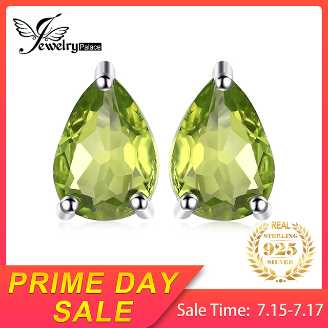 Water Drop Natural Peridot Stud Earrings