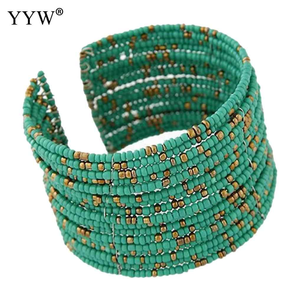 Hot Sale Designer Fashion Bohemia Green Glass Seed Beads Multilayer cuff bracelets & bangles pulseira for Women Girl Gift