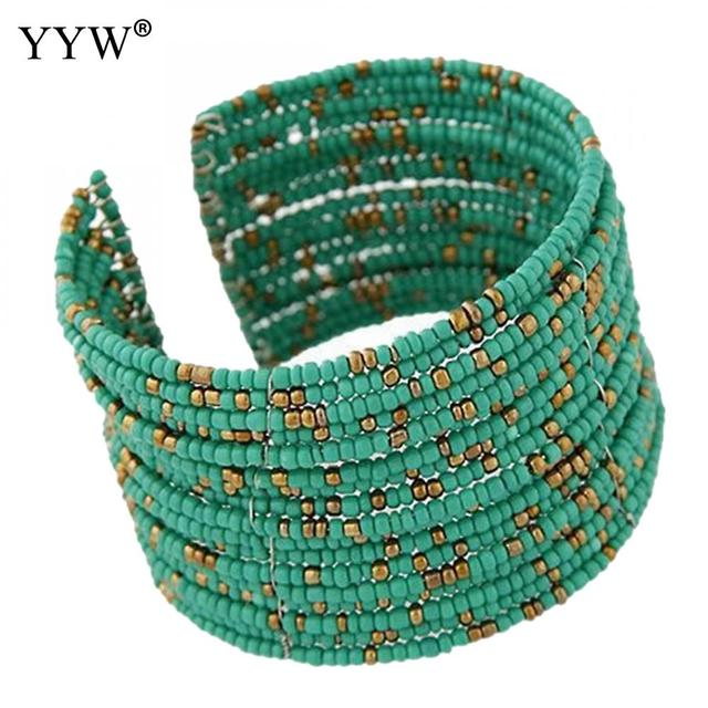 6e17f694f0e Hot Sale Designer Fashion Bohemia Green Glass Seed Beads Multilayer cuff  bracelets & bangles pulseira for Women Girl Gift