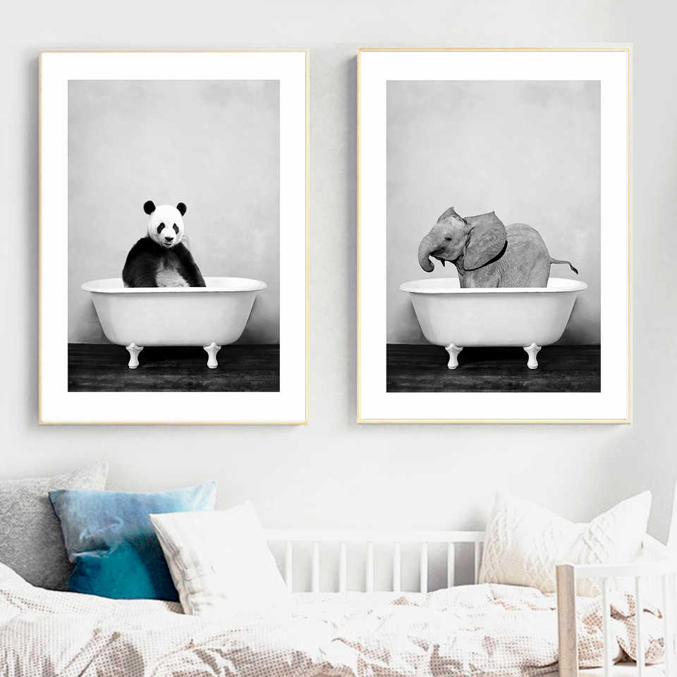 Baby Animal In Bathtub Poster Panda Giraffe Elephant Lion Pig Cow Canvas Painting Nursery Wall Art Nordic Picture Kid Room Decor Painting Calligraphy Aliexpress