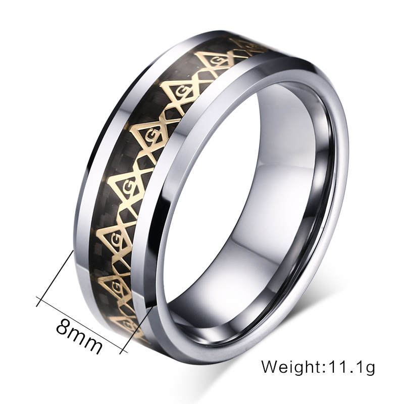 Online Shop Cool Men Masonic Rings Tungsten Steel Wedding For Jewelry With Blue Black Carbon Fiber