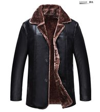 НОВЫЙ 2016 роскошные кожаные куртки зимние мужские теплые Натуральная Кожа мех lining куртки пальто и пиджаки траншеи мягкий мужской мех пальто