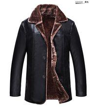 NEW 2016 luxury leather jacket  winter men's warm Genuine Leather fur lining jacket coat outwear trench padded mens fur coat