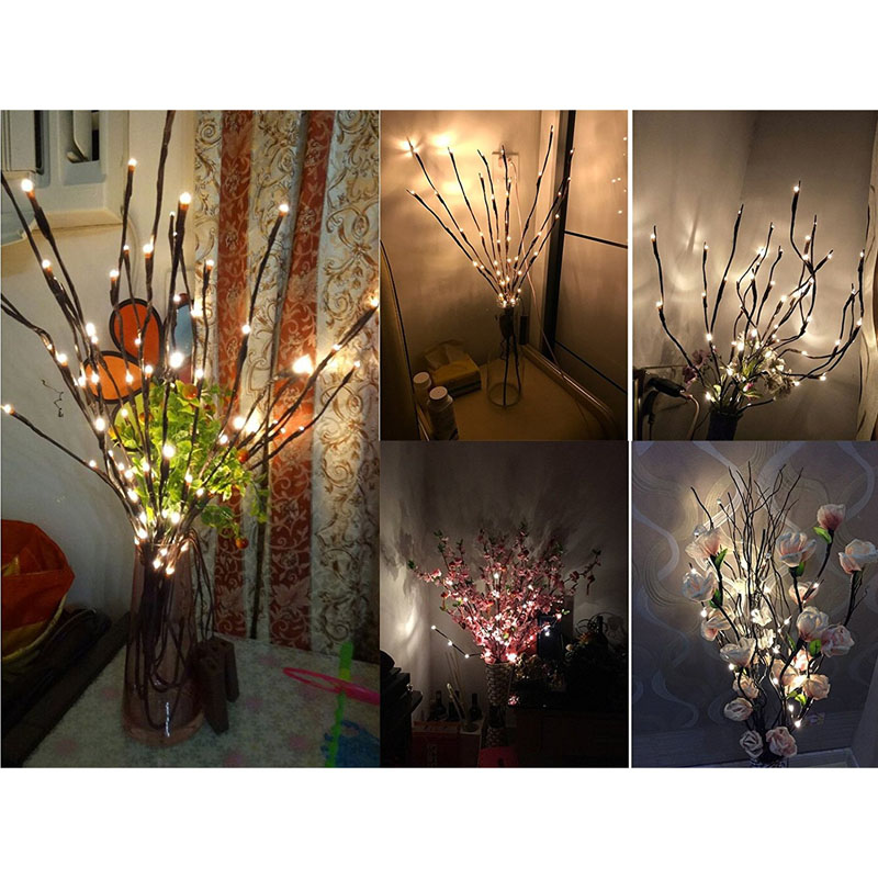 Trend Mark Novel Creative 20 Leds Branch Lights Luminous Wedding Christmas Festival Home Decoration Romantic Willow Twig Branches Lamp Ship