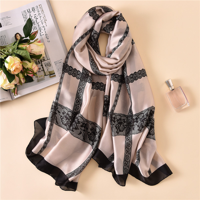 new luxury brand fashion summer soft lace print long size shawls 100% <font><b>silk</b></font> <font><b>scarves</b></font> <font><b>180*90cm</b></font> image