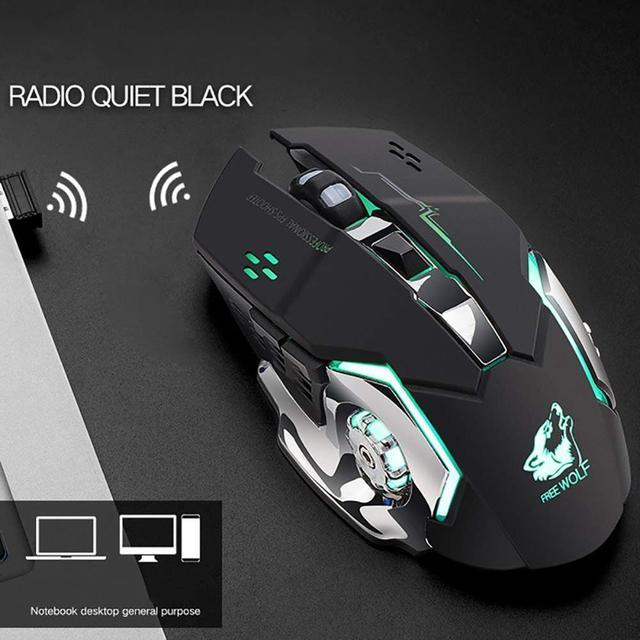 X8 Wireless Rechargeable Game Mouse Silent Illuminated Mechanical 1800Dpi 2.4G USB Wireless 7 Color Mouse A6