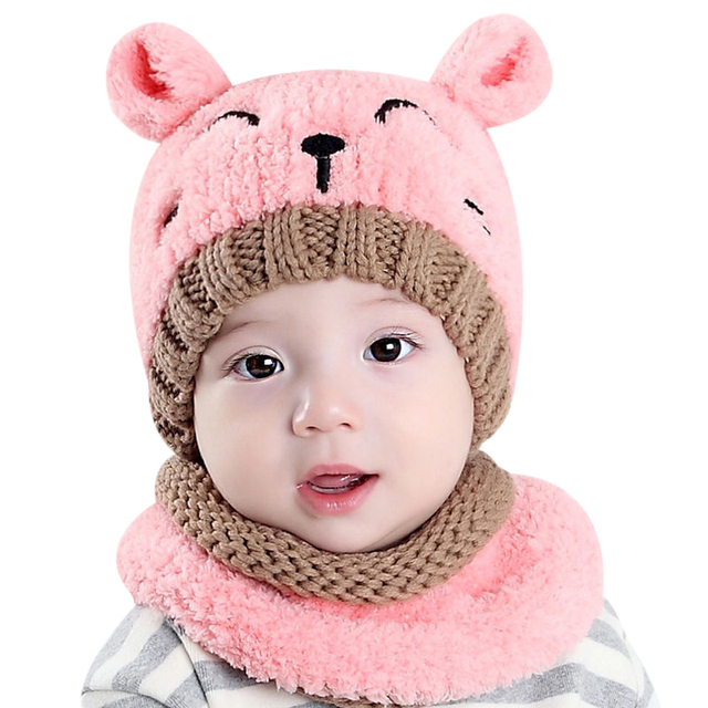 2 Teilesatz Kinder Wolle Stricken Hut Beanie Schal Nette Baby