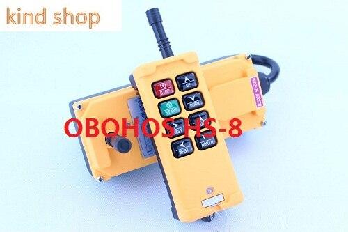 цены OBOHOS 220V HS-8 industrial remote controller 1 transmitter + 1 receiver Crane Transmitter 8 keys