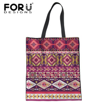 20344a4a92f FORUDESIGNS African Traditional Print Reusable Women Shopper Bags Large Eco  Canvas Ladies Bags Handbags Girls School