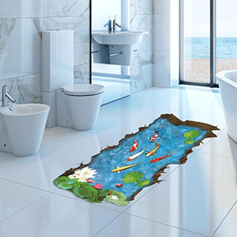 3 d simulation fish pool bedroom living room floor for Pegatinas vinilo decoracion