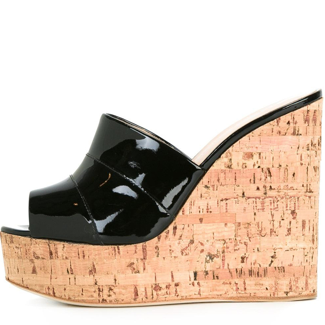 d9ebee7833 Peep Toe Cork Wedge Slide Sandals Shiny Black Platform Mules Sliver High  Heel Sandals Sky High