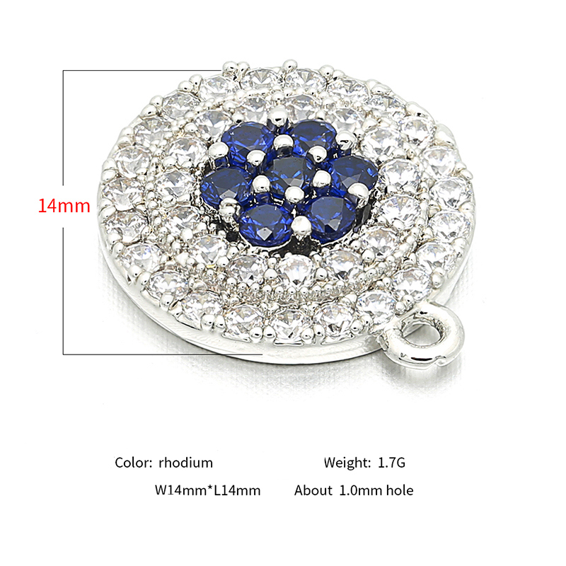 2018 Fashion Round High Quality Brass Cubic Zirconia Pendant Accessories DIY Earrings Necklace Accessories Production L14 W14mm in Jewelry Findings Components from Jewelry Accessories