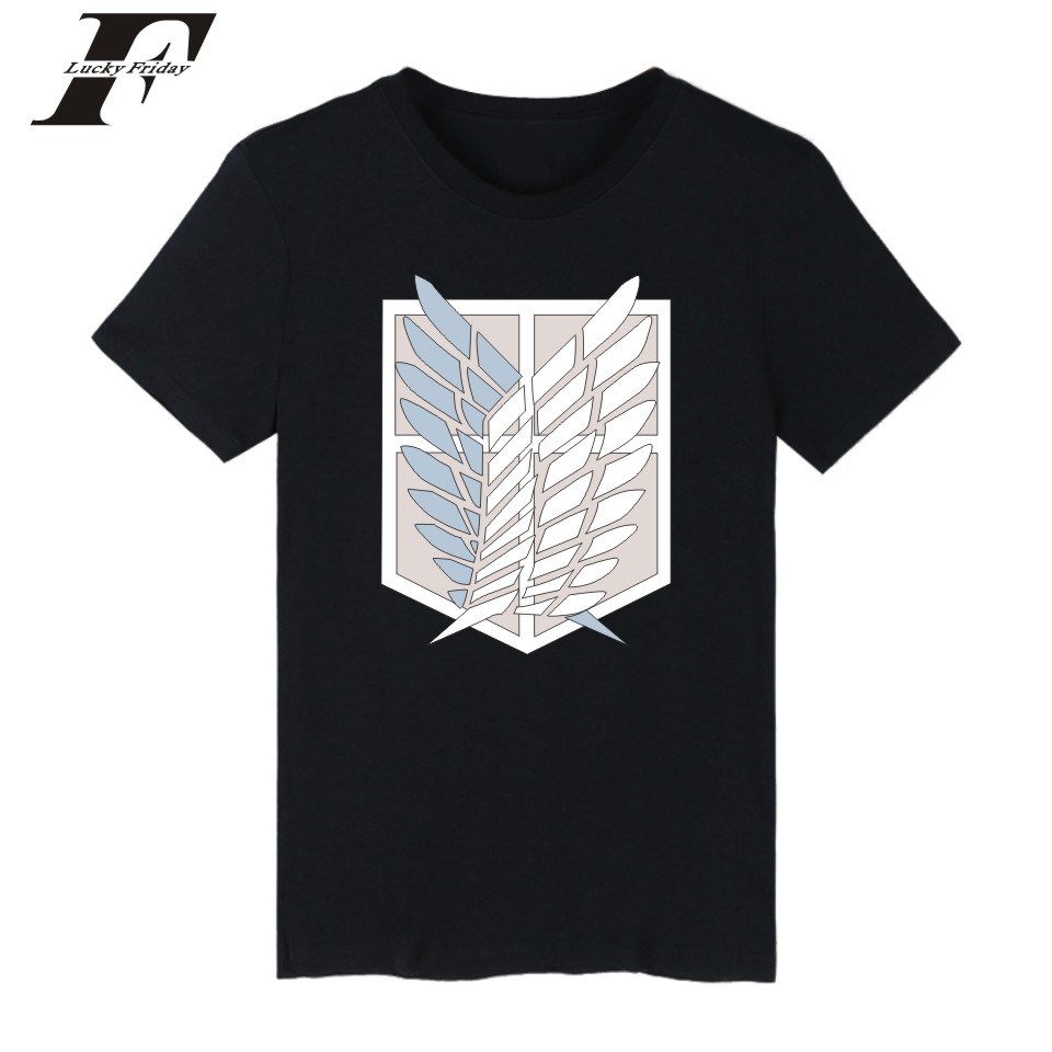 harajuku Attack On Titans Short Sleeve fitnees T-shirt Summer men tshirt Solid funny T Shirts Cotton Casual t Shirt plus size