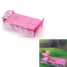 Subcluster Pink Mini Doll's Bed For Little Girl Bedroom Furniture With Pillow Classical Lace Sheets For Barbies Dolls Dollhouse цена и фото
