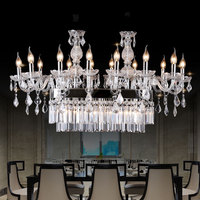 Modern K9 Crystal Chandelier Hotel Restaurant Dinging Room Table Top Lighting with rectangular LED Crystal Chandeliers