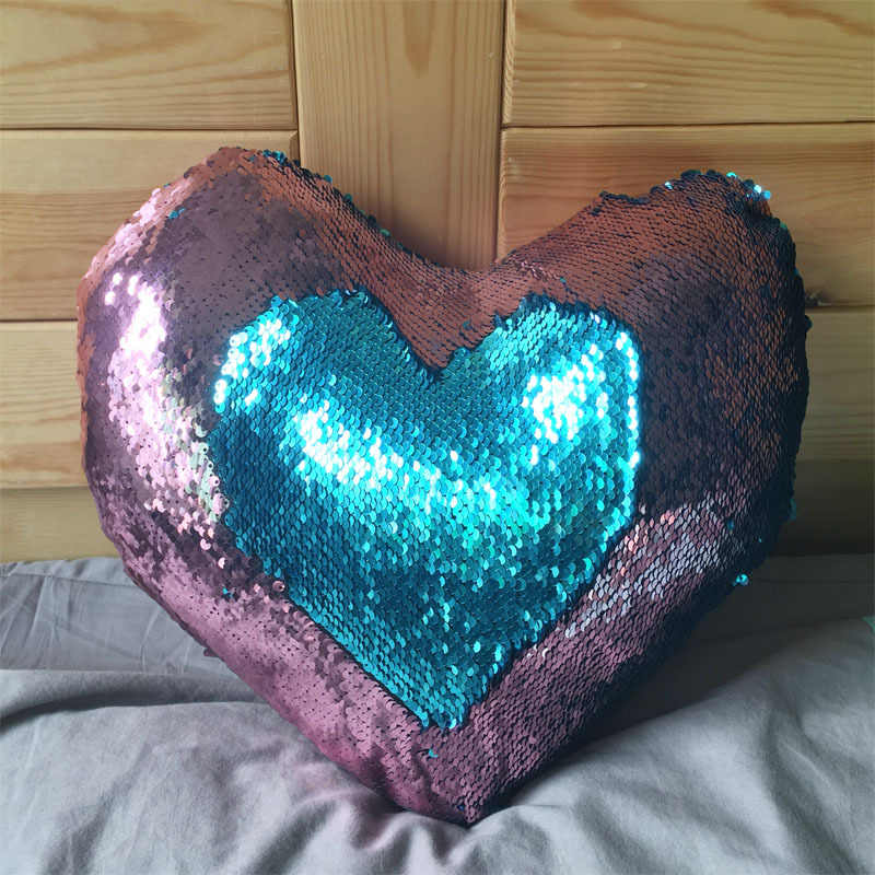 New Mermaid Sequin pillow magical color changing reversible sequin throw Heart pillow Cushion Decorative modens Pillowcase