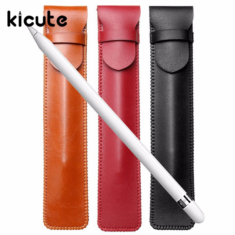 Kicute 1pcs Retro PU Leather Pencil Case Single Pen Cover Sleeve Pouch Fountain Pen Case Storage Business Office School Supplies