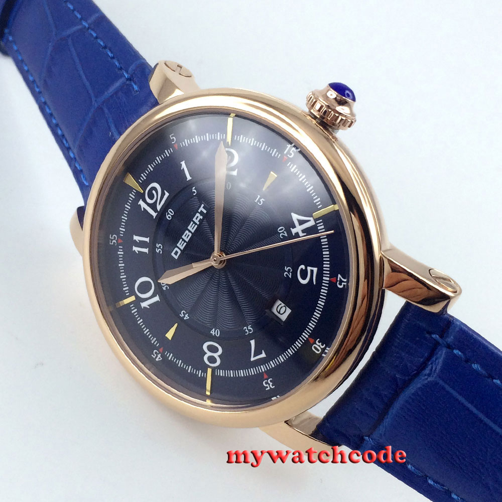 цены 43mm debert blue dial rose golden case 21 jewels diving Automatic mens Watch D9