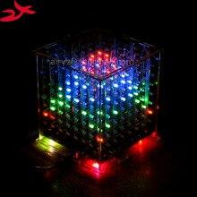 Zirrfa DIY 3D 8 s многоцветный мини свет cubeeds отличное анимации 3D8 8x8x8 дисплей, Рождественский подарок светодиодные электронные DIY Kit