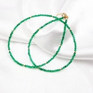 Image 4 - LiiJi 독특한 진짜 녹색 오닉스 2mm 작은 구슬 925 스털링 실버 옐로우 골드 컬러 초커 빛나는 목걸이