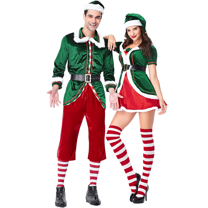 2018 New Christmas Costumes, European and American Green Christmas Elf Costume Party Party Role Play