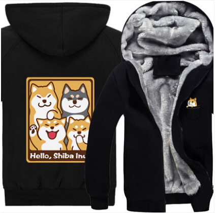 New winter Dogs hoodie Anime Shiba Inu hoodied Coat Men Women Thicken cotton Sweatshirt  cartoon