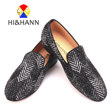 2017 new arrival black and white color mixed men cotton loafers luxurious Handmade men classic wedding loafers male dress shoes