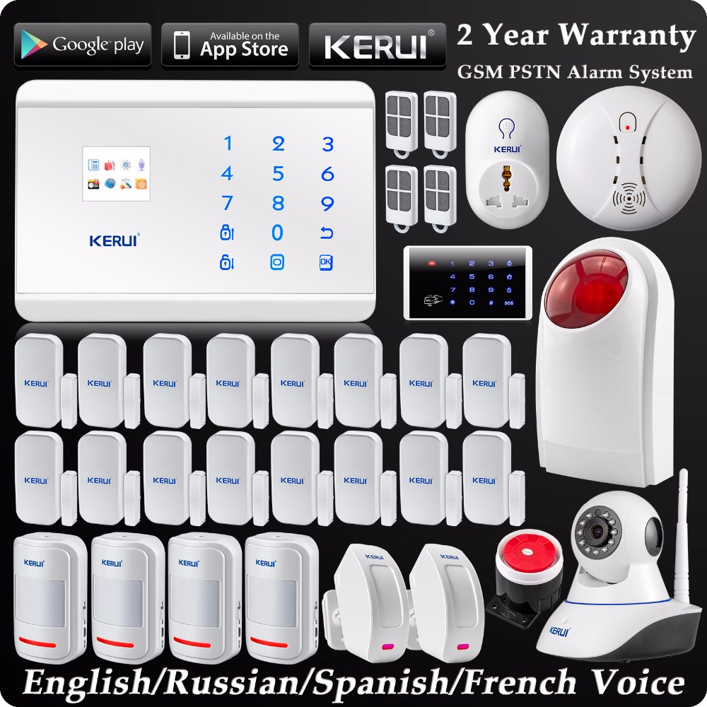 KERUI Wireless GSM PSTN Home Alarm System Android IOS APP Control Burglar Security System 720P Wifi IP Camera Curtain PIR Sensor wireless gsm pstn home alarm system android ios app control glass vibration sensor co detector 8218g