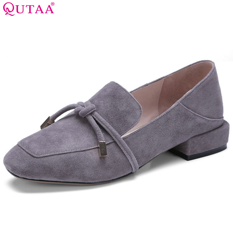 QUTAA 2018 Women Pumps All Match Fashion Square Low Heel Pointed Toe Kid Suede Slip On Spring/ Autumn Ladies Pumps Size 34-42 slhjc fashion 2017 summer autumn medium heel pumps square toe ribbon all match velvet sandals