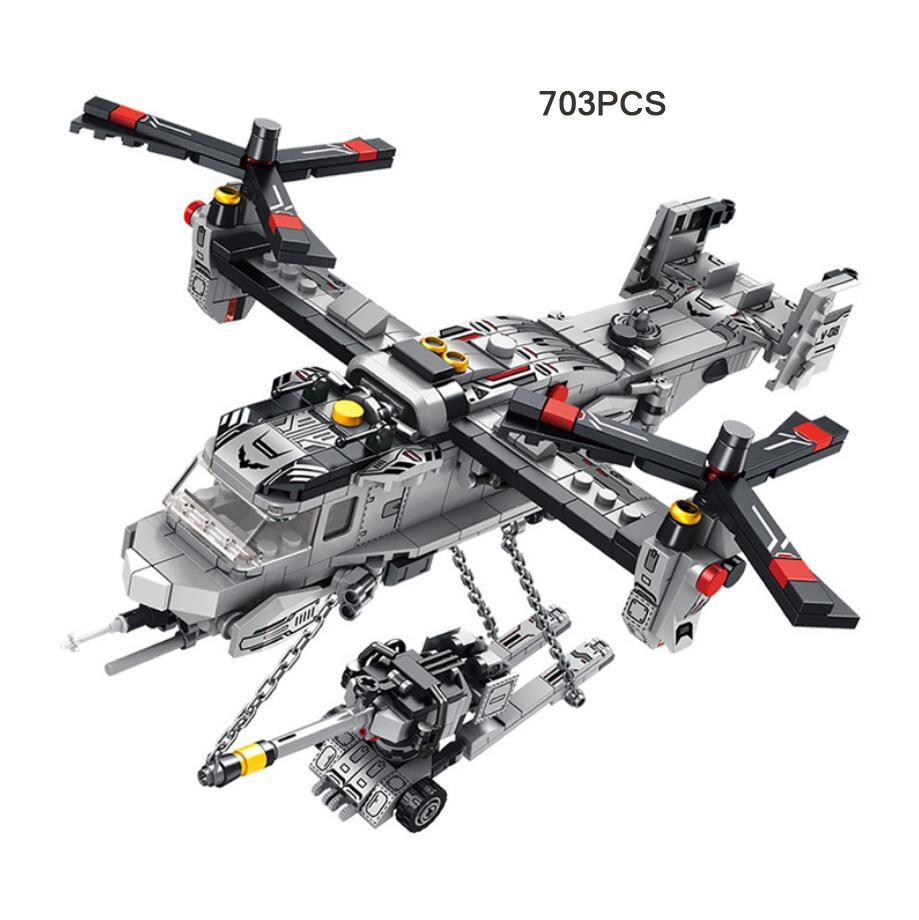 modern military USA 8in1 MV-22 Osprey Transport Aircraft batisbricks  building block ww2 artillery tank helicopter diy brick toys