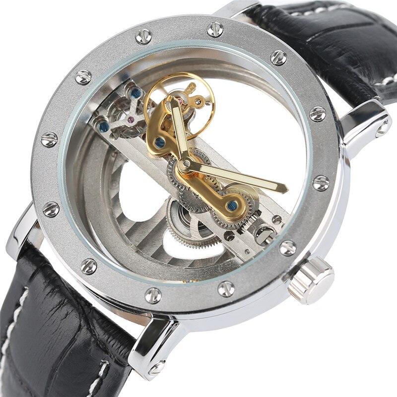 Роскошные полые автоматические механические Для мужчин модные черные кожаные Наручные Часы Прозрачный Скелет Бизнес Повседневное Wind часы ...