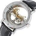 Luxo oco relógio automático mecânico masculino couro preto relógios de pulso transparente esqueleto negócios casual auto vento relógio