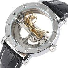 купить Luxury Hollow Automatic Mechanical Men Fashion Black Leather Wrist Watches Transparent Skeleton Business Casual Self Wind Clock по цене 2041.86 рублей