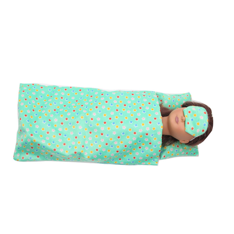 Sleeping Series Outfits Set of 3 for 18 inch American Girl Doll Clothes - 1xGreen Sleep Bag +1xPillow +1xEyes Coverc294 american girl doll clothes elegant color flower print long dress doll clothes for 18 american girl best gift 5 colors d 2