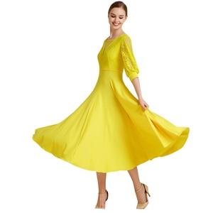 Image 3 - Vestido de baile de salón de baile moderno con cinta de baile de manga larga vestido de largo Flamenco Rumba Samba vestido de práctica estándar