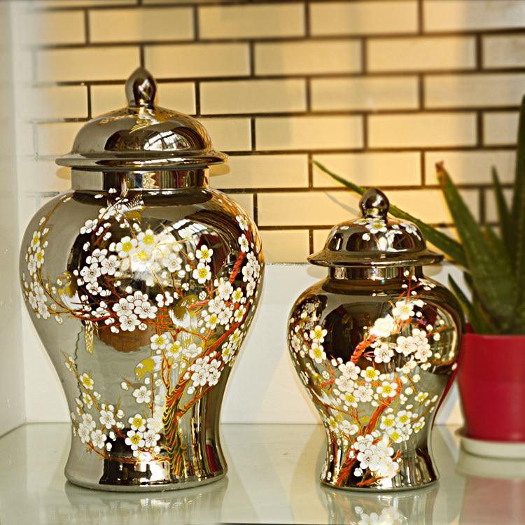 Burnt Orange Striped Tibor Ginger Jar Contemporary Decorative Jars And Urns