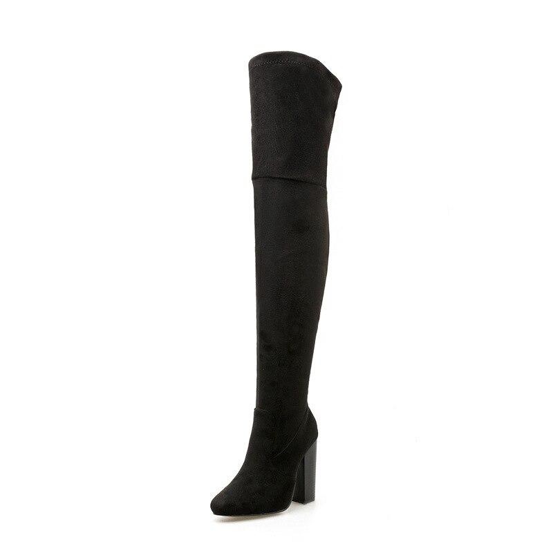 Зимние Супер Высокий каблук толстые сапоги детские сапоги выше колена тонкие ноги стрейч сапоги эластичные сапоги черные ljj 1129