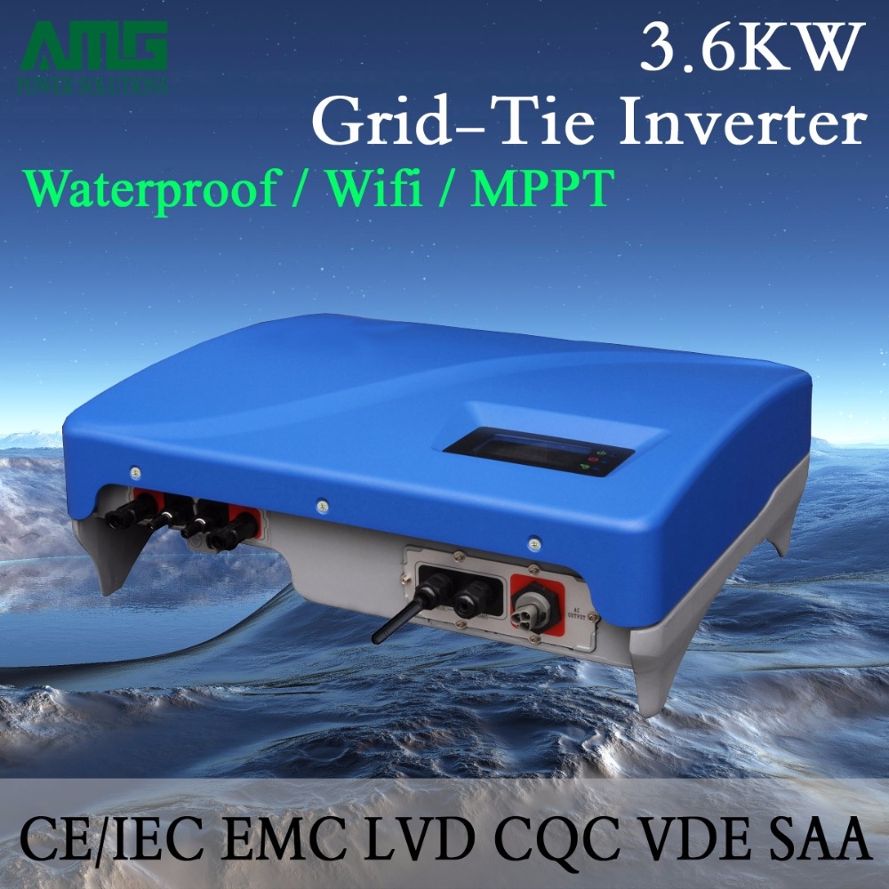 3.5KW(3600W) Dual Input MPPT Waterproof IP65 On Grid Tie Solar Power Inverter Wifi Default Conversion, GPRS optional 5000w single phrase on grid solar inverter with 1 mppt transformerless waterproof ip65 lcd display multi language
