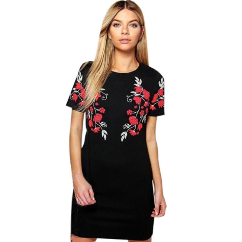 snowshine YLI Women Ladies Print Casual Round Neck Short Sleeve Shift Tees Dress free shipping