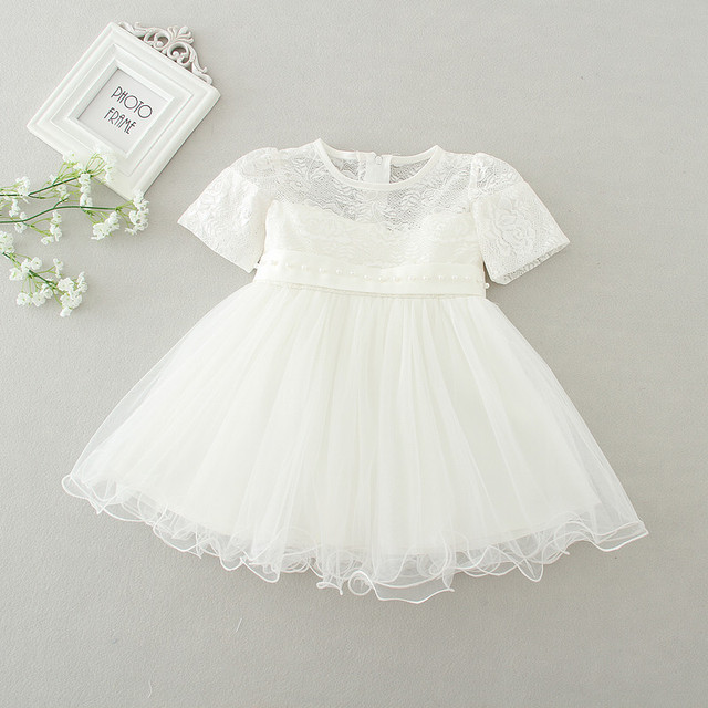 2258de7b8329 Summer Lace Baby Girl Christening Dress White and Red Baby Girl ...