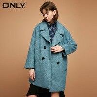 Только женское зимнее двубортное шерстяное пальто   11734S505