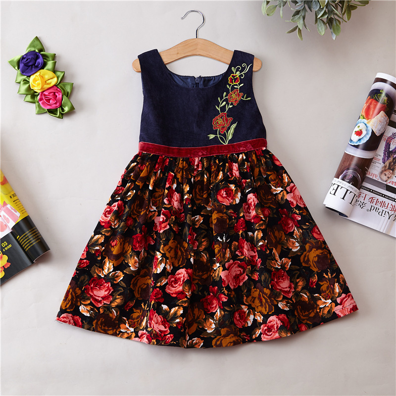 Girls Spring flower dress princess dress kids Autumn and winter dress children clothing party wear 2016 autumn winter clothing corduroy girls dress girl spring and autumn winter vest dress party princess dress