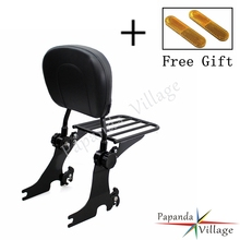 Papanda Adjustable Black Sissy Bar Rear Backrest Cushion Pad Motorbike Luggage Rack for Harley Sportster XL1200 XL883 1994-2003 цена